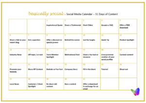 31 Days of Social Media Content Ideas