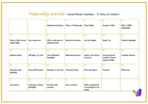 31 Days of Social Media Content Ideas